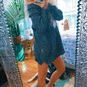 Black + White Speckled Oversized Sweater